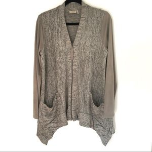 LOGO Lori Goldstein Gray Lagenlook Sweater/Jacket